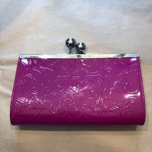 Handbags - Pink Clutch with silver accent closure